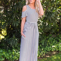 Palm Springs Striped Maxi Dress