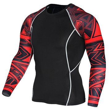 Geometric 3D Printed Compression Long Sleeve Shirt