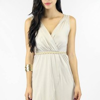 Taupe Drappy Mini Wrap Dress