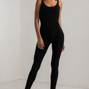 AKIRA Basic Scoop Neck Bodycon Jumpsuit in Black