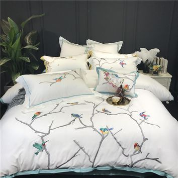Autumn Winter egyptian cotton Bedding Set birds embroidery Flat Bed Sheet Duvet Cover Bed Sheet Pillowcase King Queen 4/7pcs