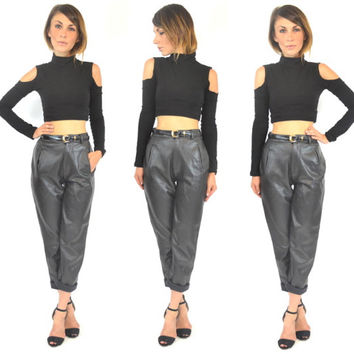 vintage buttery SOFT high waisted BLACK LEATHER trousers biker glam pants, extra small-small