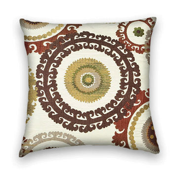 Suzani Decorative Pillow Cover -- 20 x 20 -- Green, Firebrick Red, Cornsilk Yellow, Brown
