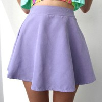 FESTIVAL LILAC PASTEL PURPLE HIGH WAISTED SKATER SKIRT 8 10 12