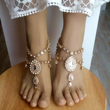 Aida Barefoot Sandals Foot Jewelry Gold Barefoot Sandals Wedding Jewelry Wedding Sandals Anklet Foot Thong Beach wedding Shoes Sandles