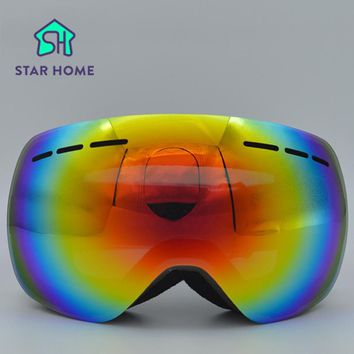 Unisex Adults Professional Spherical Anti-fog Dual Lens Snowboard Ski Goggle Eyewear Men Women Snow Goggles with glasses case
