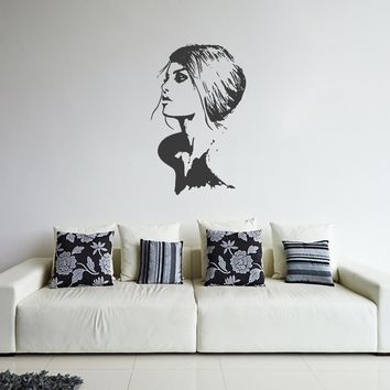 ik252 Wall Decal Sticker Decor beautiful girl prile to interior bed