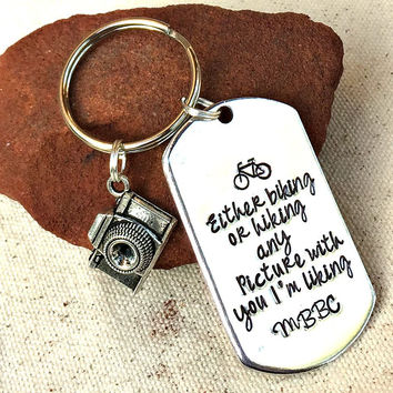 Cute Boyfriend Gift Husband Biking Hiking Mountain Biker Keyring Men MTB Gifts for Cyclists Mountain Bike Charm Either Biking or Hiking