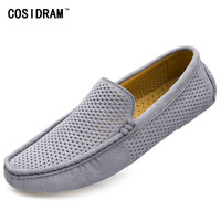 Men Loafers 2017 Casual Boat Shoes Genuine Leather Slip On Driving Shoes Moccasins Hollow Out Men Flat
