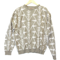 Vintage 80s Tan Aztec Tribal Cosby Sweater - The Ugly Sweater Shop