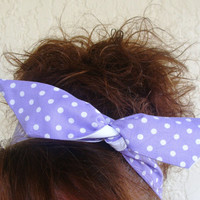 Reversible Dolly Bow, Purple Medium Polka Dots, Rockabilly Wire Headband Flexible Pin Up Hair Accessory for Girls Women and Teens
