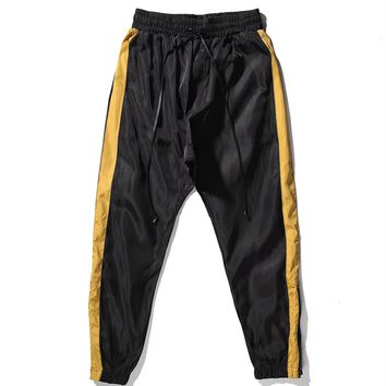 Vintage Stripe Loose Fit Drop Crotch Track Pants Kanye west Zipped Ankel Mesh Lined Sweatpants Waxed Drawcord Free Shipping