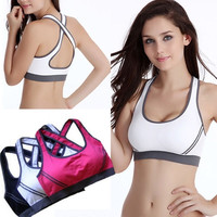 Asia SIZE ! Women Fitness Yoga Sport Stretch Workout Tank Top Cross Seamless Bra Vest Padded