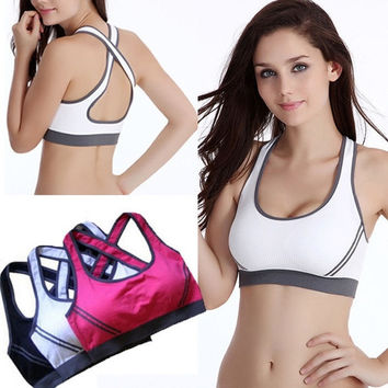 Asia SIZE ! Women Fitness Yoga Sport Stretch Workout Tank Top Cross Seamless Bra Vest Padded = 1932444100
