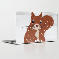 Red squirrel in the winter snow with white snowflakes cute home decor nursery drawing Laptop & iPad Skin by Bad English Cat