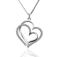 18KGP Crystal Pave Double Heart Frames Pendant Necklace