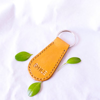 Personalized genuine leather keychain with hand tooled letters, leather accessory