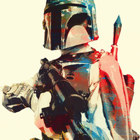 "BOUNTY HUNTER (Boba Fett of STAR WaRS/WHiTE) 8x11"" Digital Illustration Print by MoPS"