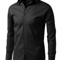 LE3NO Mens Comfortable Slim Fit Tailored Button Down Shirt (CLEARANCE)