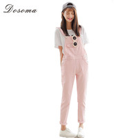 4 Colors Denim Jumpsuit 2017 Korean Preppy Style Fashion Pocket Womens Jeans Jumpsuit Girls Casual Denim Overalls Skinny Women