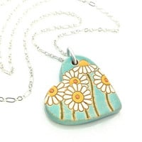 Daisy Necklace, Mothers Day Gift, Pottery Necklace, Aqua Necklace, Flower Pendant, Ceramic Jewelry, Heart Necklace