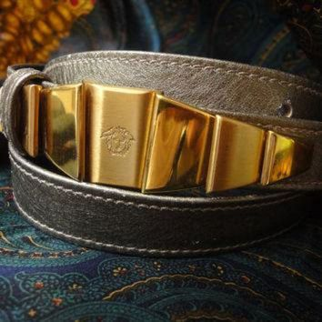 DCCK8X2 Vintage Gianni Versace skinny gold bronze leather belt with golden hardware and medusa