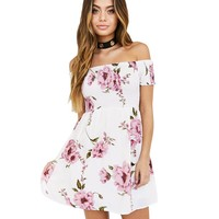Off Shoulder Flower Print Short Sleeves Short Dress