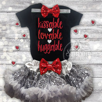 Baby Valentines Day Outfit Girls Valentines Day Outfit Kissable Huggable Lovable, Black and Red Outfit: Top, Headband, Skirt, Sized NB-7T
