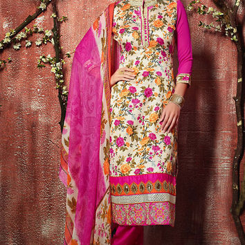 White and Pink Floral Zari Embroidered Straight Cut Suit