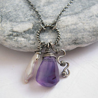 Rock Amethyst Biwa Pearl Cluster Charm Oxidized Sterling Necklace