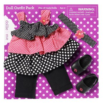 Dollie & Me Polka-Dot Doll Outfit (Black Pink)