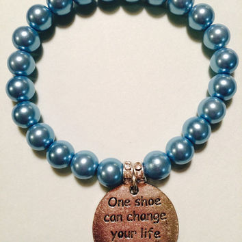New for Spring. 6MM Pearl Bracelet with Cinderella Quote Charm. Something Blue. Bride Jewery.