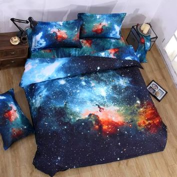 3D Galaxy Bedding Set Universe Outer Space Themed Bedspread Bed Linen Bed Sheets Duvet Cover Set Comforter Bedding sets