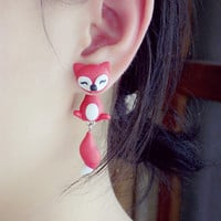 Fashion Handmade Two-part Fox Earrings