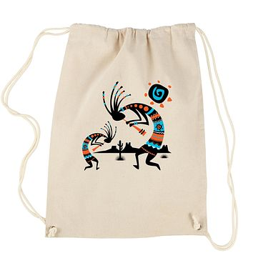 Native American Kokopelli Southwest Drawstring Backpack