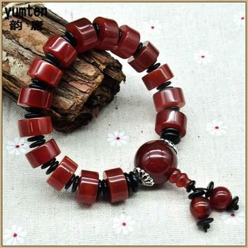 Round Rose Agate Beads Bracelet Men Jewelry Making Arm Cuff Abalorios Wedding Favors And Gifts Best