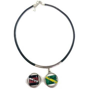 "SCUBA Nitrox Diver Flag and DIVE DEEP 15"" Necklace with 2 18MM - 20MM Snap Jewelry Charms"