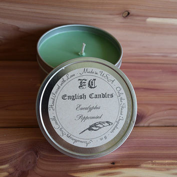 Eucalyptus Peppermint - Aromatherapy Soy Candle - Invigorating Unisex Aroma - Hand Poured - 8 oz Tin Container - Baby/Bridal Shower Gift