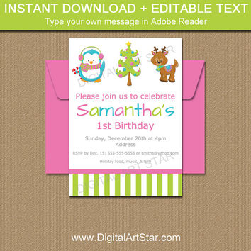 Kids Christmas Party Invites, EDITABLE Christmas Party Invitations, Kids Christmas Birthday Invitation Template, Girl Christmas Invites C1