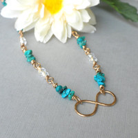Genuine Turquoise and Bronze Infinity Necklace, Symbolic Jewelry, Infinity Short Necklace, Healing Stone Necklace, Turquoise Jewelry