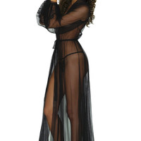 Giselle robe in black mesh and lace - sheer see-through floor-length robes, netting, long dressing gown robes, delicate lace trim tulle