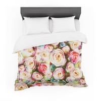 """Dawid Roc """"Pastel Rose Romantic Gifts"""" Green Photography Featherweight Duvet Cover"""