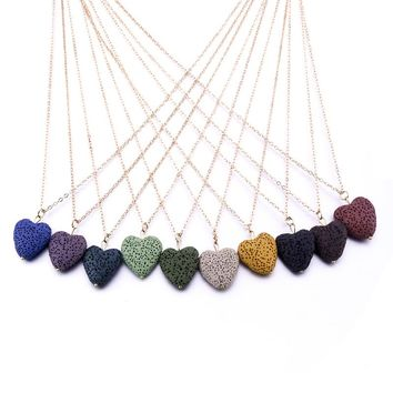 Heart Love Lava Stone Necklace Essential Oil Diffuser Volcanic Rock Necklace for Women Jewelry