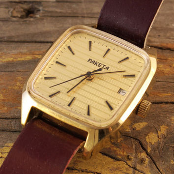Vintage Raketa mens watch gold plated russian watch with date window ussr ccp soviet watch