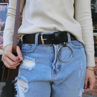 Black Edgy Metal Buckle Belts