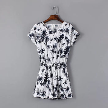 Summer Print Short Sleeve Slim Casual Pants Shorts Romper [4915020548]