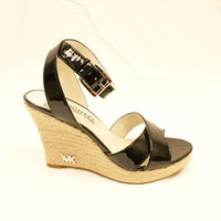 Michael Kors Kami Ankle Strap Womens Black Patent Leather Wedge Sandals Shoes