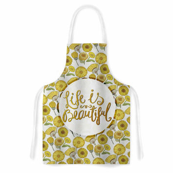 "Pom Graphic Design ""Life Is Beautiful"" Yellow Gold Typography Illustration Artistic Apron"