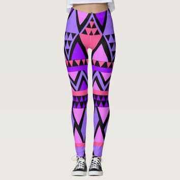 Ethnic Purple Pink Ethnic Pattern Leggings