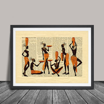 African Print Decor, African Women Art Print, African Woman Silhouettes Abstract Art, African Women Paintings (124)